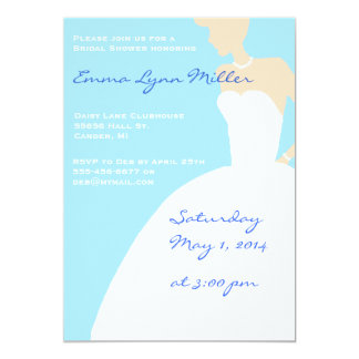 Blue Bride Silhouette Bridal Shower Invitation