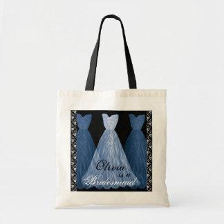 BLUE Bridesmaid Dresses Cotton Tote Bag