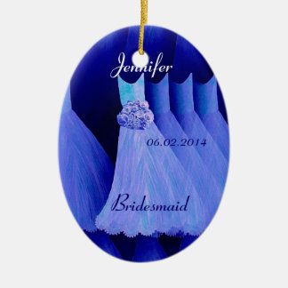 BLUE Bridesmaid Thank You Wedding Ceramic Oval Decoration