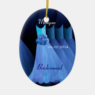 Blue Bridesmaid Thank You Wedding V002 Ceramic Oval Decoration