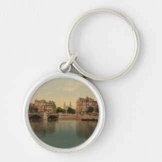 Blue Bridge and the Amstel River Amsterdam Keychain