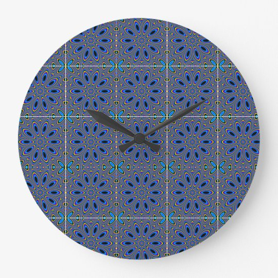 Blue bright flowers Round (Large) Wall Clock
