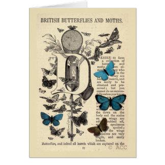 Blue British Butterflies and Moths Card