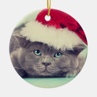 Blue British Cat Purr-fect Holiday Season Christmas Ornament
