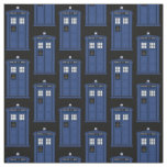 Blue British Police Box fabric for Time Travel