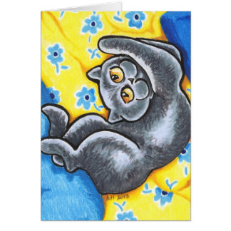 Blue British Shorthair Cat Flower Bed Card