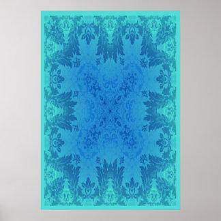 Blue Brocade Poster