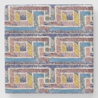 Blue brown and Yellow Mosaic Print Stone Coaster