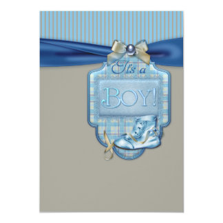 Blue Brown Booties Baby Boy Shower Card
