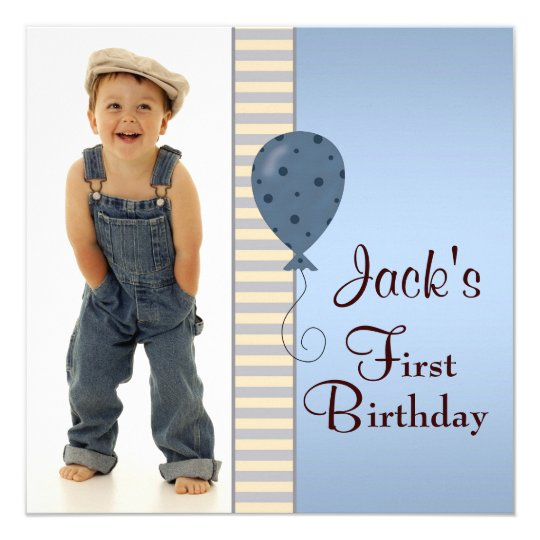 Blue Brown Boys Photo 1st Birthday Party Card
