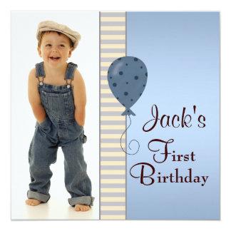 Blue Brown Boys Photo 1st Birthday Party Invites