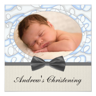 Blue Brown Boys Photo Christening 13 Cm X 13 Cm Square Invitation Card