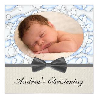 Blue Brown Boys Photo Christening 13 Cm X 13 Cm Square Invitation Card