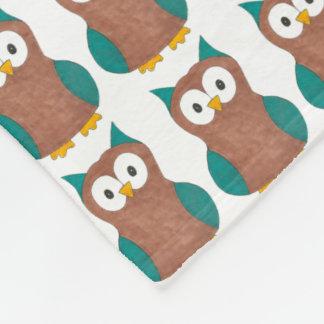 Blue Brown Cartoon Owl Print Owls Bird Blanket