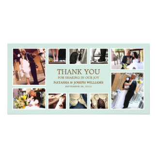 BLUE & BROWN COLLAGE | WEDDING THANK YOU CARD