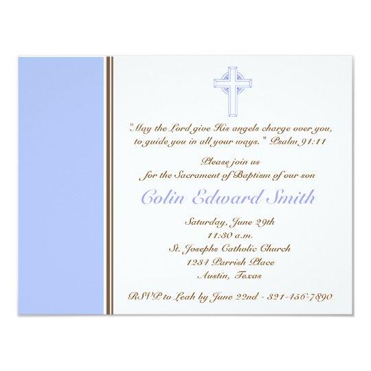 Blue & Brown Cross Baptism Christening Invitation