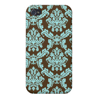 Blue Brown Damask Case