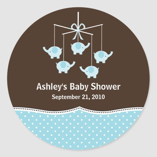 Blue & Brown Elephant Mobile Baby Shower Classic