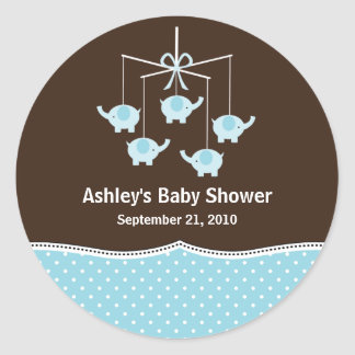 Blue & Brown Elephant Mobile Baby Shower Stickers