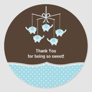 Blue & Brown Elephant Mobile Thank You Sticker