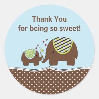 Blue & Brown Elephant Thank You Sticker