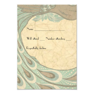 Blue Brown Faded Vintage Peacock rsvp 9 Cm X 13 Cm Invitation Card