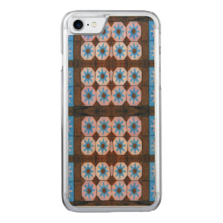 Blue Brown Flower Pattern Carved iPhone 8/7 Case
