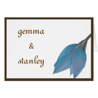 Blue & Brown Flower Save the Date Greeting Card
