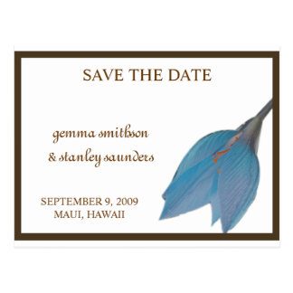 Blue & Brown Flower Save the Date Postcard