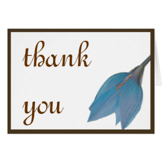 Blue & Brown Flower Thank You Greeting Card