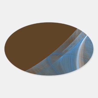 Blue & Brown Fractal Background Oval Sticker