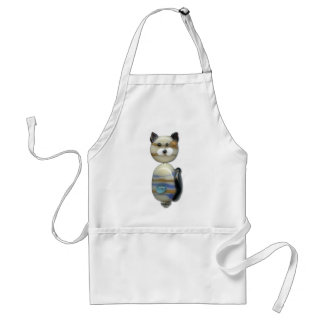 Blue Brown Glass Bead Cat Apron