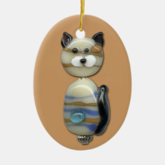 Blue Brown Glass Bead Cat Ceramic Oval Decoration