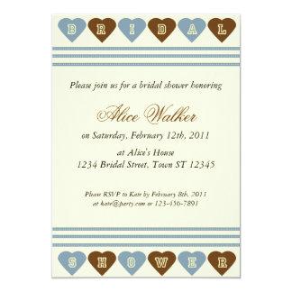 Blue Brown Hearts Bridal Shower Invitation