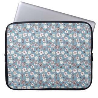 Blue Brown Hibiscus Floral Pattern Laptop Sleeve
