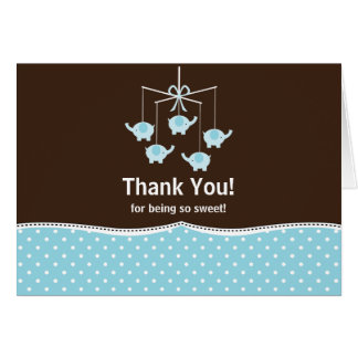 Blue & Brown Mobile Thank You Note Card