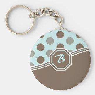 Blue & Brown Monogram Basic Round Button Key Ring