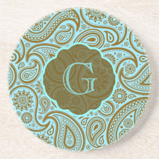 Blue & Brown Paisley Retro Pattern-Monogram Coasters