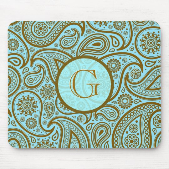 Blue & Brown Paisley Retro Pattern-Monogram Mouse Pad