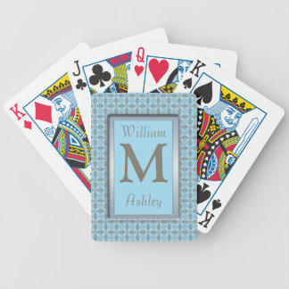 Blue Brown Pattern Monogrammed Playing Cards