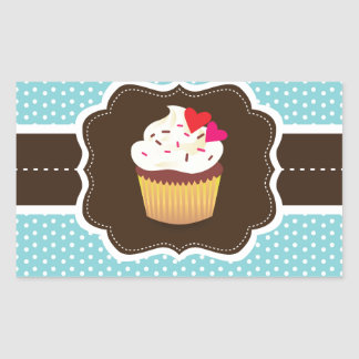 Blue//Brown Plaid cupcake Rectangular Sticker