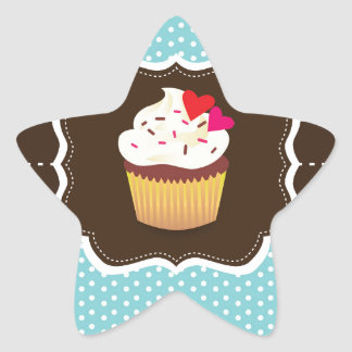 Blue//Brown Plaid cupcake Star Sticker