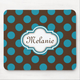 Blue Brown Polka Dots Quatrefoil Nameplate Mouse Mat