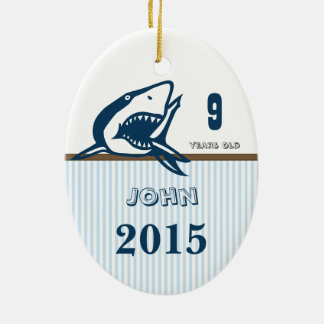 Blue & Brown Shark Dot Stripes Photo Ornament
