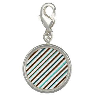 Blue Brown Stripe Round Charm