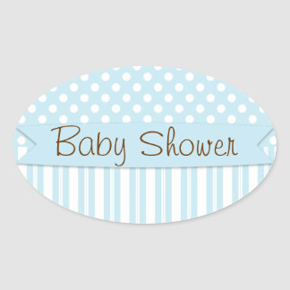 Blue Brown Sweet Boy Polka Dot Baby Shower Oval Sticker