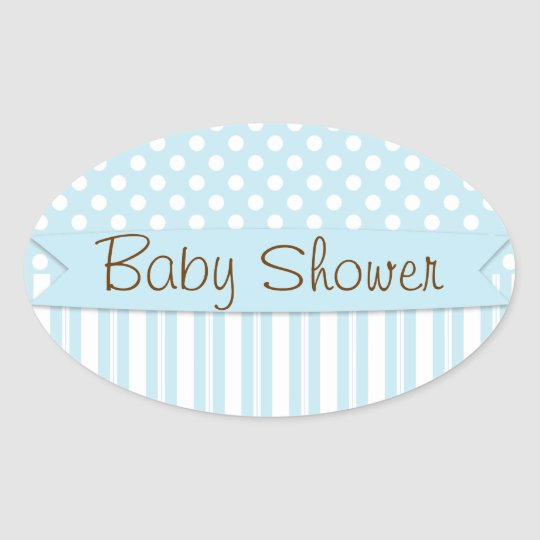 Blue Brown Sweet Boy Polka Dot Baby Shower