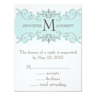 Blue Brown Swirl Monogram Wedding RSVP Cards 11 Cm X 14 Cm Invitation Card