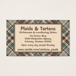 Blue brown tartan check business card