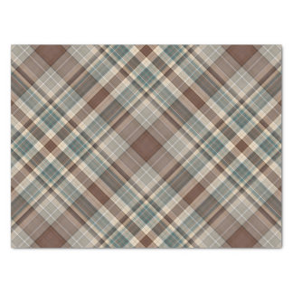 Blue brown tartan check tissue paper